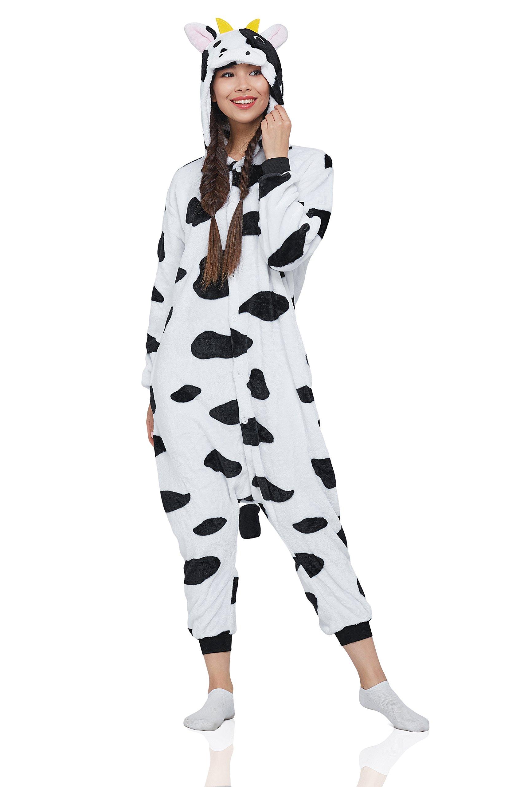 Nothing But Love Adult Cow Kigurumi Animal Onesie Pajamas Plush Onsie One Piece Cosplay Costume (Medium, Black/White/Cow Print)