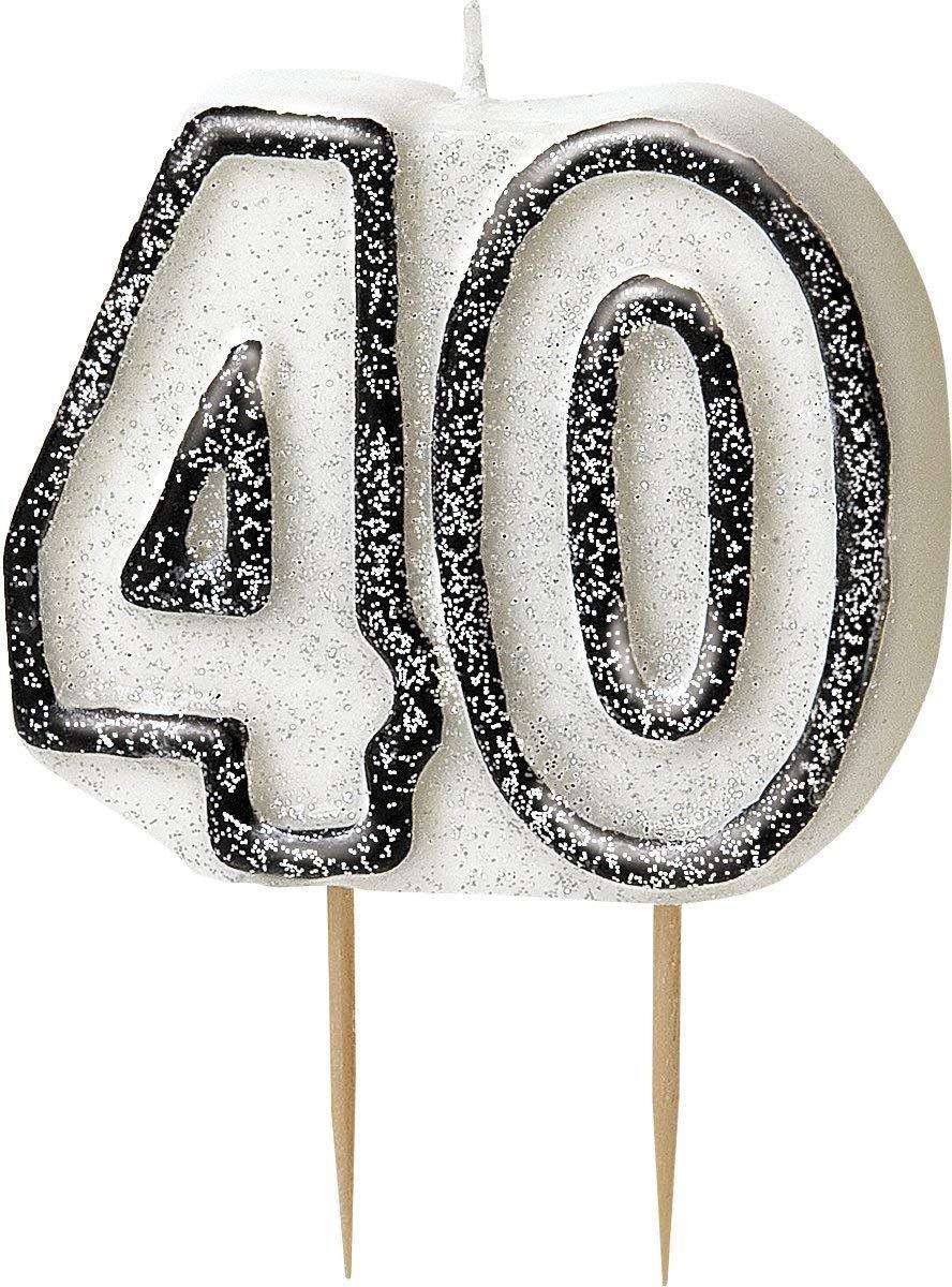 WOW GLITTER BLACK//SILVER 40th Birthday Candle