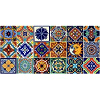 18 Mexican Tile Talavera Hand Painted Assorted Designs 4x4