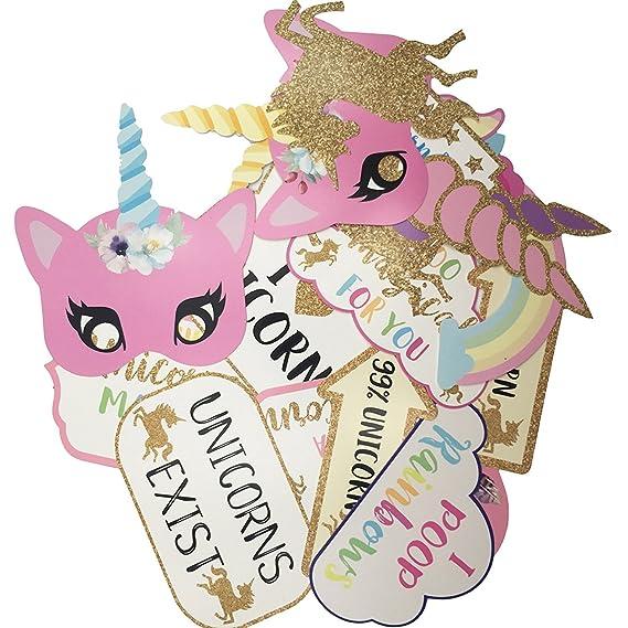 Hemore Boda y Unicornio Photo Booth Props para Niños para Party Boda,Cumpleaños,Fiestas,Baby Shower ,Accesorios Decoraciones Unicornio (Unicornio Photo ...