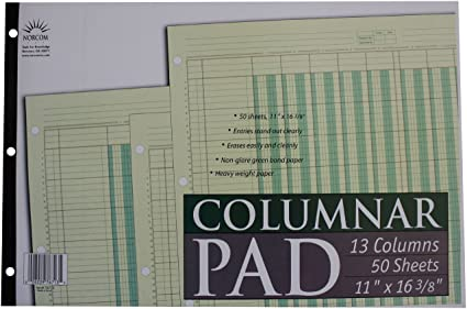 picture regarding Printable Columnar Paper called Norcom Columnar Pad 13 Columns, 11 x 16.375 Inches, 50-Sheets, Environmentally friendly (76713-10)