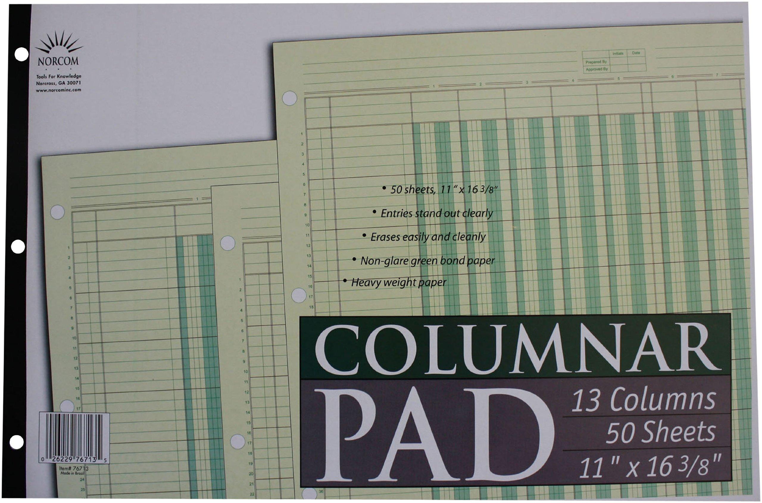 Norcom Columnar Pad 13 Columns, 11 x 16.375 Inches, 50-Sheets, Green (76713-10)