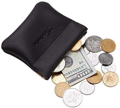 25f927fe843c Travelambo Genuine Leather Squeeze Coin Purse Pouch Change Holder For Men    Women (Access Black