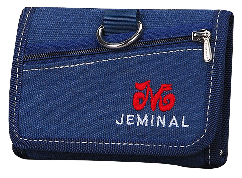 QISHI YUHUA JML Men's Retro Casual Short 3 Fold Purse Blue Canvas Wallets