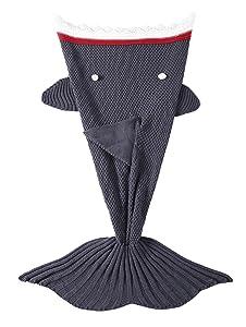 TiaoBug Handcrafted Crochet Knitted Mermaid Tail Blanket for Adult Teens, Kids All Seasons Sofa Sleeping Bag Bed Rug Kids Shark Grey One Size
