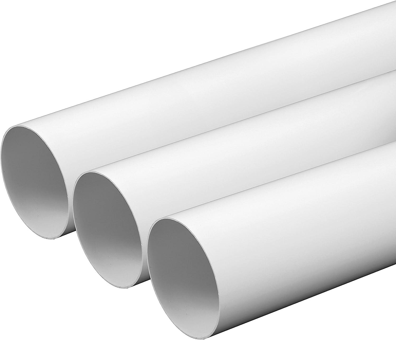 Tubo de ventilación 100 mm, longitud de 0,5 m de plástico ABS, tubo redondo, canal redondo, tubo de salida de aire, canal de salida de aire, extractor de humo, canal 10 cm de diámetro y 50 cm de largo