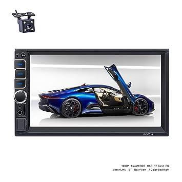 Reakosound radio coche 2 din reproductor MP5 autoradio audio 1080p para coche Blutooth 7 pulgadas Pantalla tácti Radio FM/AM control del volante
