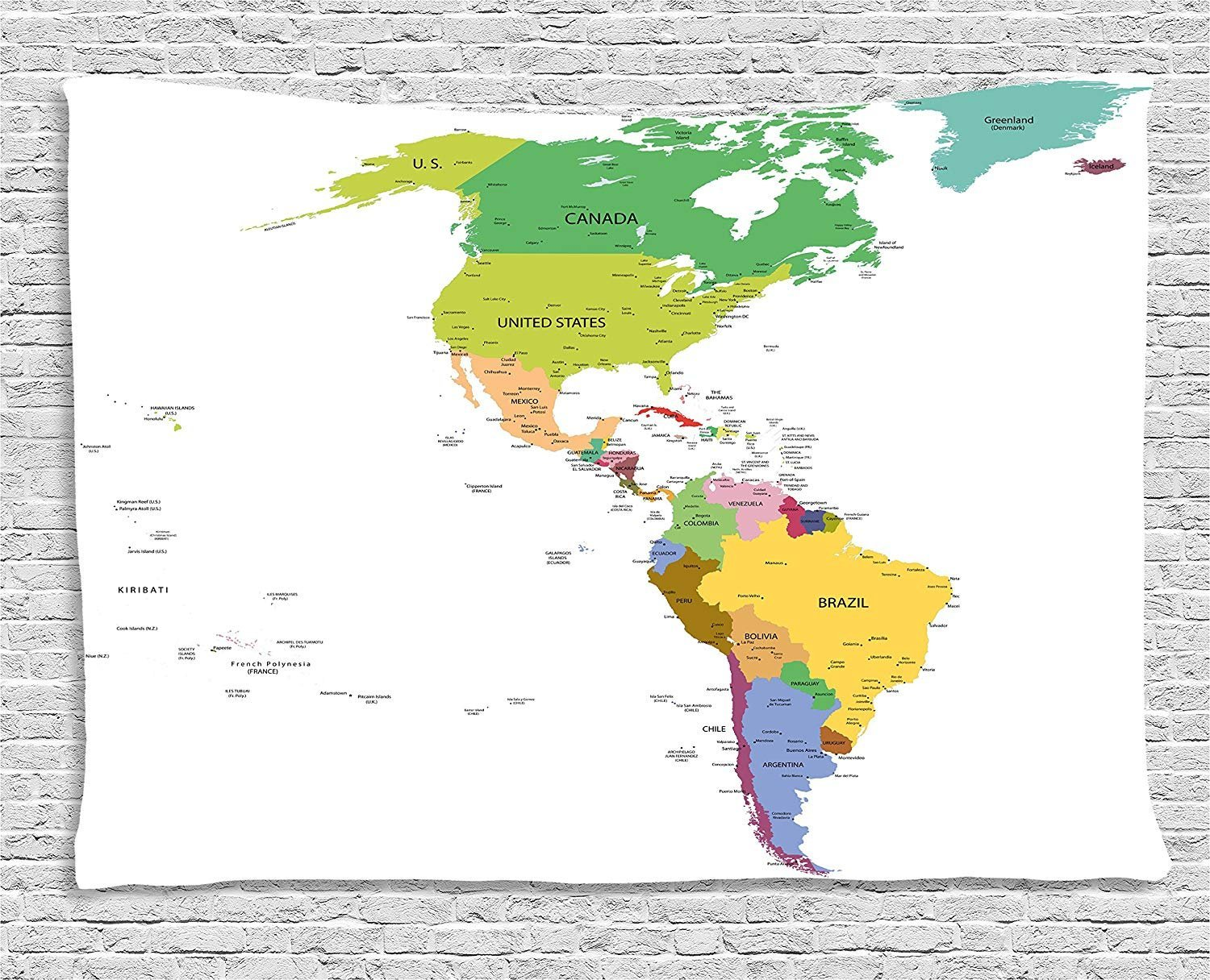 XHFITCLtd Map Tapestry, Map of South and North America with Countries Capitals and Major Cities Colorful Design, Wall Hanging for Bedroom Living Room Dorm, 80 W X 60 L Inches, Multicolor