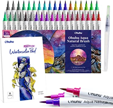 12 Colors Watercolor Brush Pen with Flexible Tips Drawing Marker Water Based