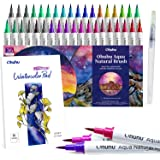Ohuhu Watercolor Brush Markers Pens Set 36 Colors with 12-Sheet Watercolor Pad & A Blending Aqua Brush, Water-based Paint Markers with Flexible Nylon Brush Tips for Coloring, Calligraphy, Drawing