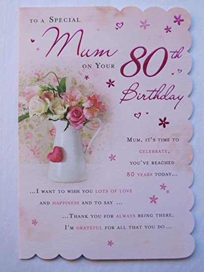 STUNNING TOP RANGE BEAUTIFULLY WORDED MUM EIGHTY 80TH BIRTHDAY GREETING CARD Amazoncouk Kitchen Home