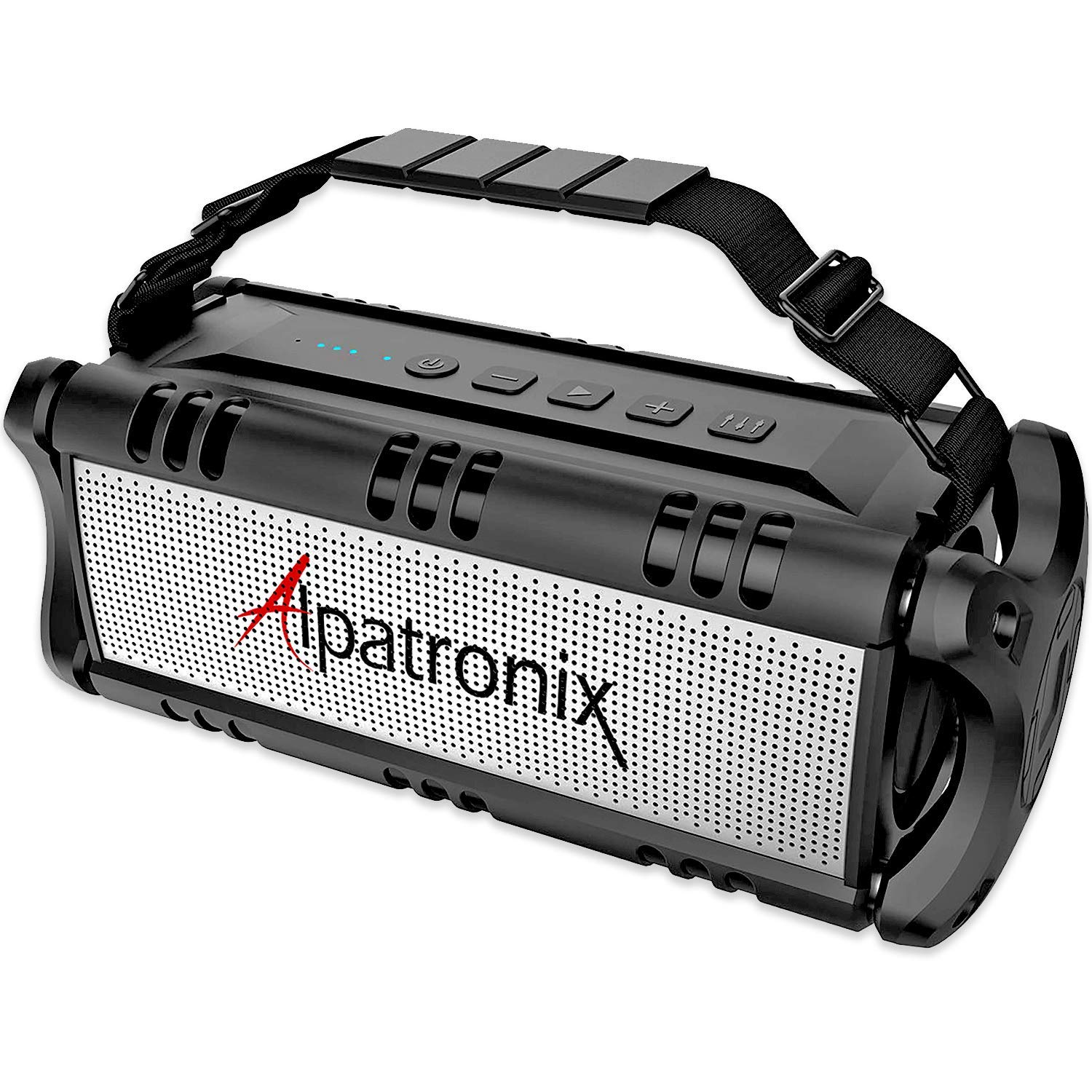 Waterproof Bluetooth Speaker, 40W Portable Wireless Speaker & Power Bank, Shockproof w/TWS, DSP, Stereo, Subwoofer, USB Drive & Equalizer, Alpatronix AX500 for Home, Parties, Indoor & Outdoor - Black