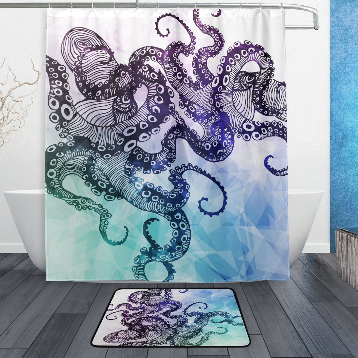 ALAZA Set of 2 Octopus Sea Monster 60 X 72 Inches Shower Curtain and Mat Set, Ocean Sea Animal Geometric Style Waterproof Fabric Bathroom Curtain and Rug Set with Hooks