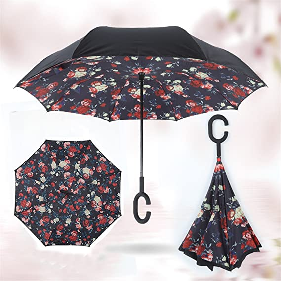 Amazon.com : Reinhar Double Layer Inverted Self Stand Out Rain Gear C-Type Handle Semi-automatic Windproof Reverse Folding Umbrella Black : Sports & ...