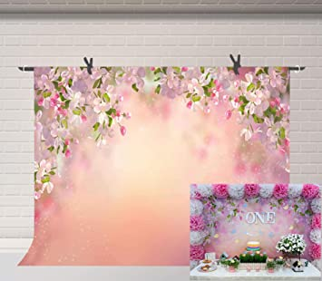 Peach 12x10 FT Vinyl Photography Background Backdrops,Rose Flowers Leaves Buds Natural Themed Image Soft Toned Abstract Background Background for Graduation Prom Dance Decor Photo Booth Studio Prop Ba