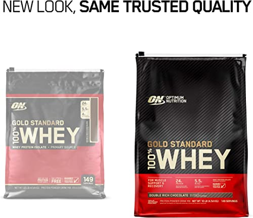 Optimum Nutrition Gold Standard 100 Whey Protein Powder, Double Rich Chocolate 10 Pound Packaging May Vary