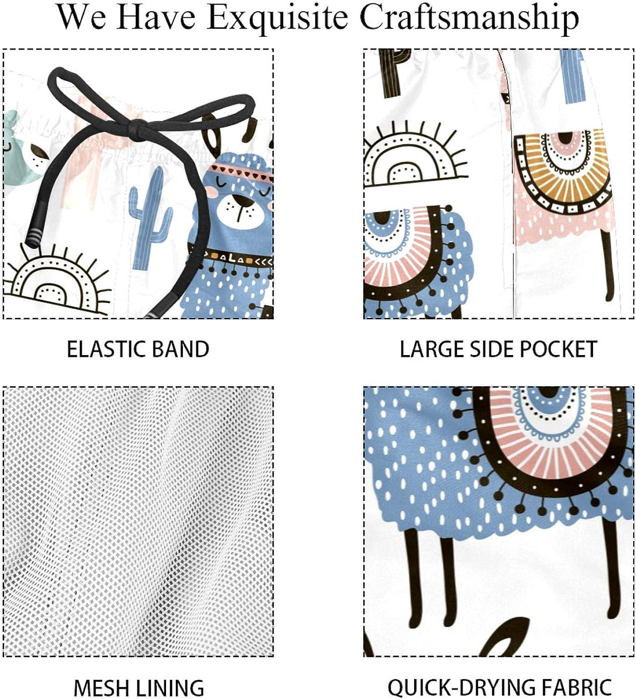S/ü/ße Llama und Kaktus schnelltrocknende Herren-Badehose mit Tasche