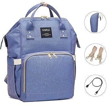 Baby Wickeltasche Wickelrucksack Wasserdicht mit USB-Lade Port Mama Rucksack Gro/ße Kapazit/ät Babytasche Blau