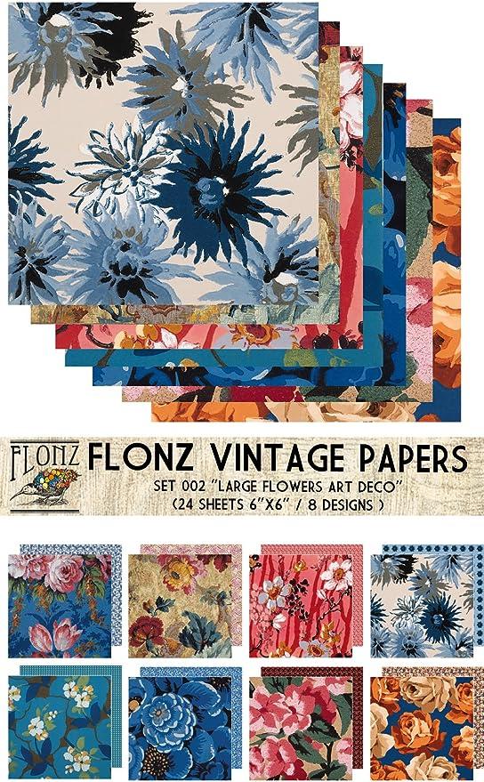 Decoupage Paper Pack 24 Sheets 6x6 Art Nouveau Frames Flourishes FLONZ Vintage Styled Paper for Decoupage and Craft