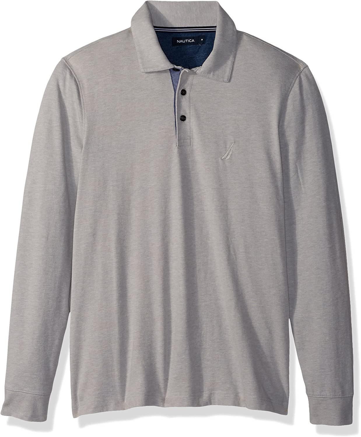 Nautica - Polo de manga larga para hombre - Gris - Large: Amazon ...