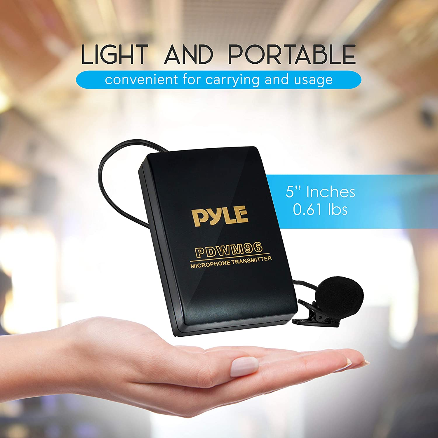 Portable Professional Clip Lav lapel Mic set with Volume Control Transmitter Pyle Pro PDWM96 Wireless Clip Lavalier Microphone System Receiver 20 ft range Battery Sound Recorder For Camera