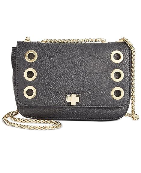 26e57e64ddaa INC Womens Korra Faux Leather Grommet Crossbody Handbag Black Small   Handbags  Amazon.com