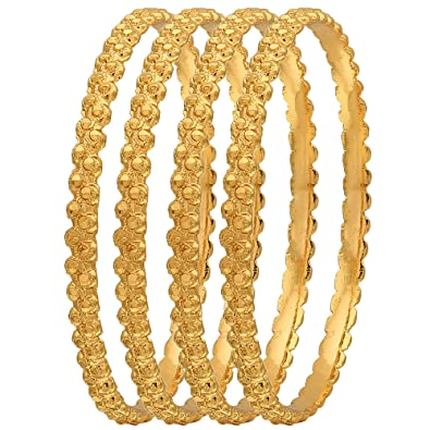 7357ae6a6d45f Sasitrends 1 Gram Gold Plated Thick Size Daily Wearable Bangles for Women -  Set of 4