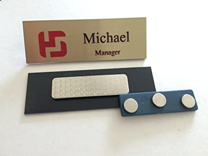 Customized Metal Name Badges with Magnet - Full Color Logo - 3