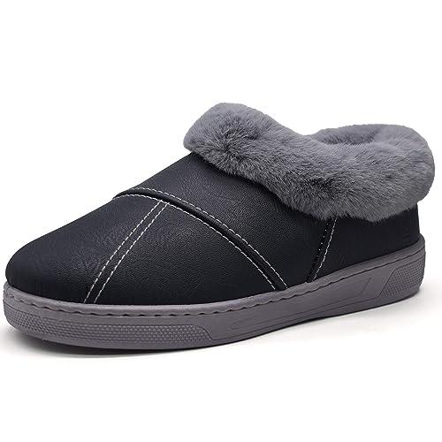 jiajiale Mujer Invierno cálido Cuero casa Zapatilla Botines Zapatos mullidos Interiores/Exteriores: Amazon.es: Zapatos y complementos