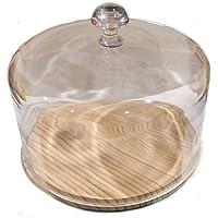 Quesera - Fresquera. Cristal / Pino 30cm