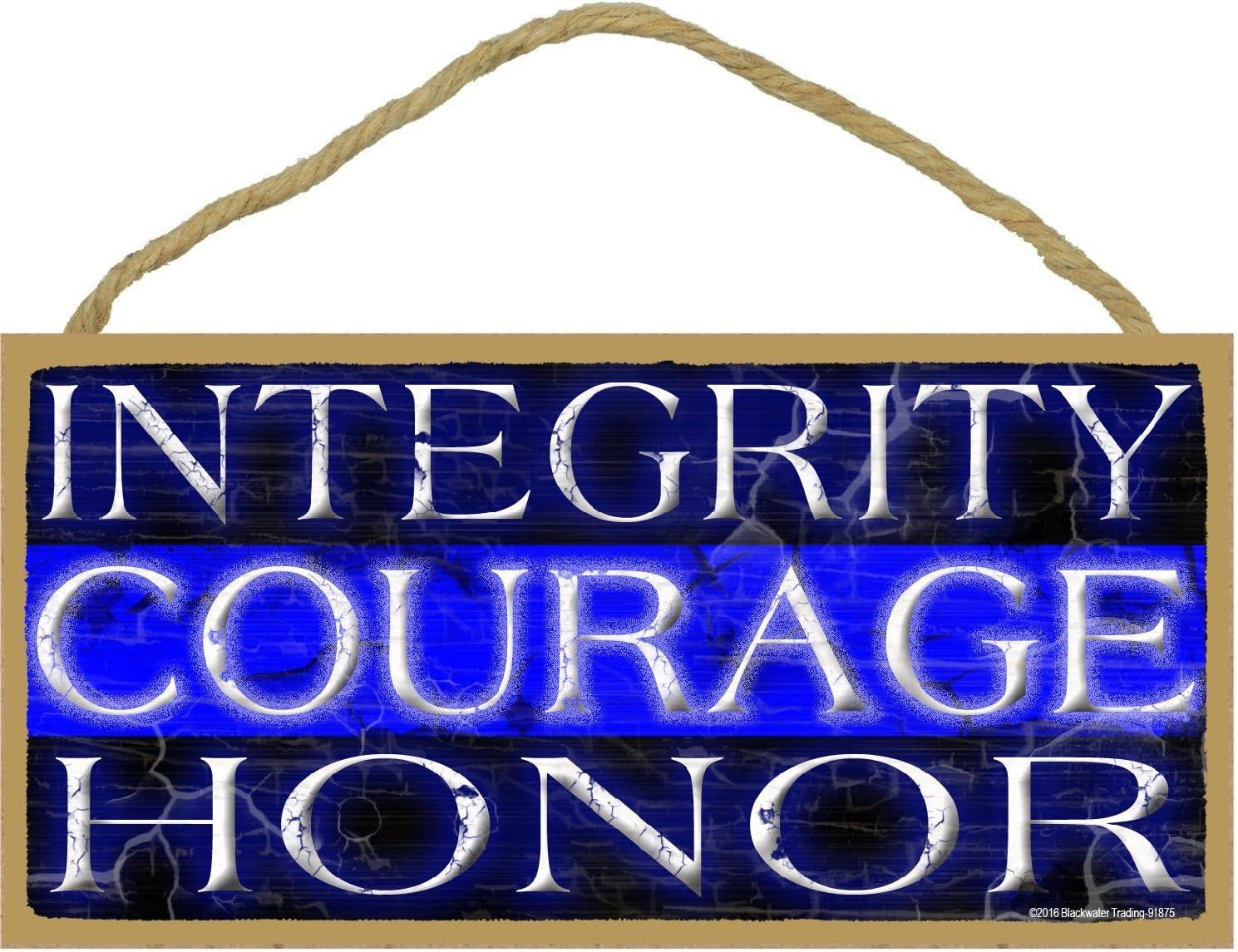 Integridad Honor Valor delgada línea azul Policía Cop envejecido Sign 5