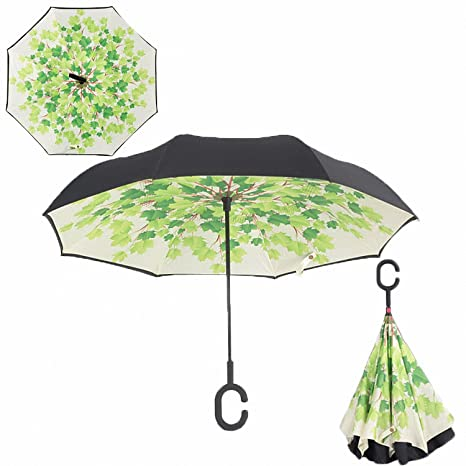 Baolustre Folding Reverse Umbrella Double Layer Inverted Windproof Rain Car Umbrellas For Women Green Shade