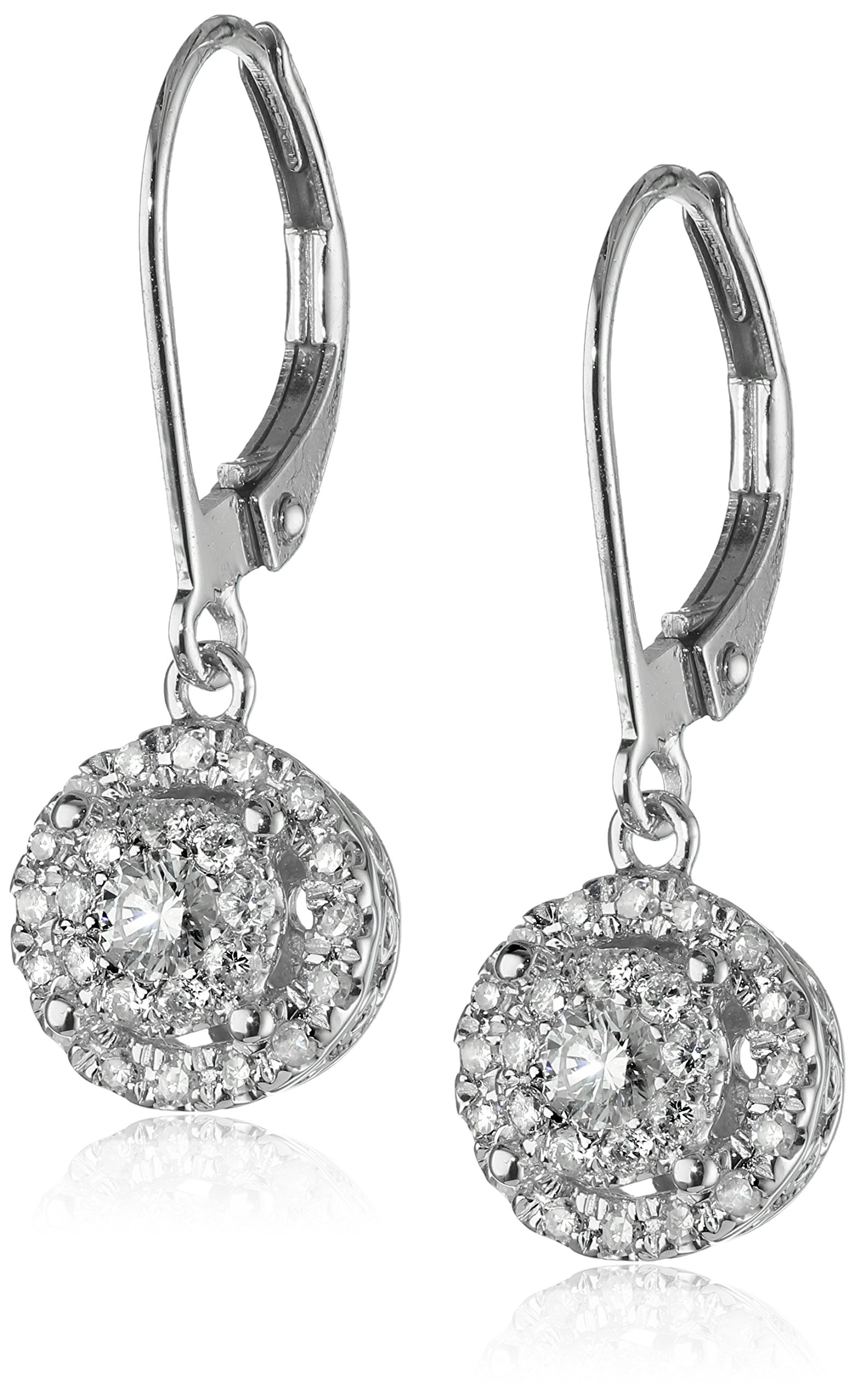 14k White Gold Diamond Cluster Circle Drop Earrings (2/5 cttw, H-I Color, I1-I2 Clarity)