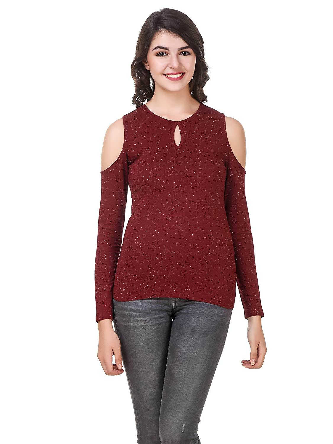200754aaa0e53 LE BOURGEOIS Women s Cold Shoulder Full Sleeve Knitted Top  Amazon.in   Clothing   Accessories