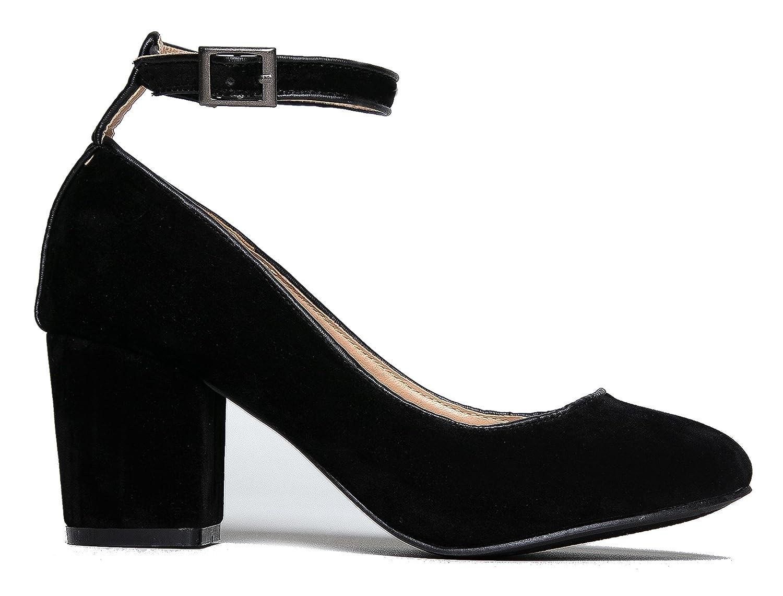 04f7d3874e4d J. Adams Ankle Strap Pump Heel -Comfortable Round Toe Dress Block Shoe -  Darling