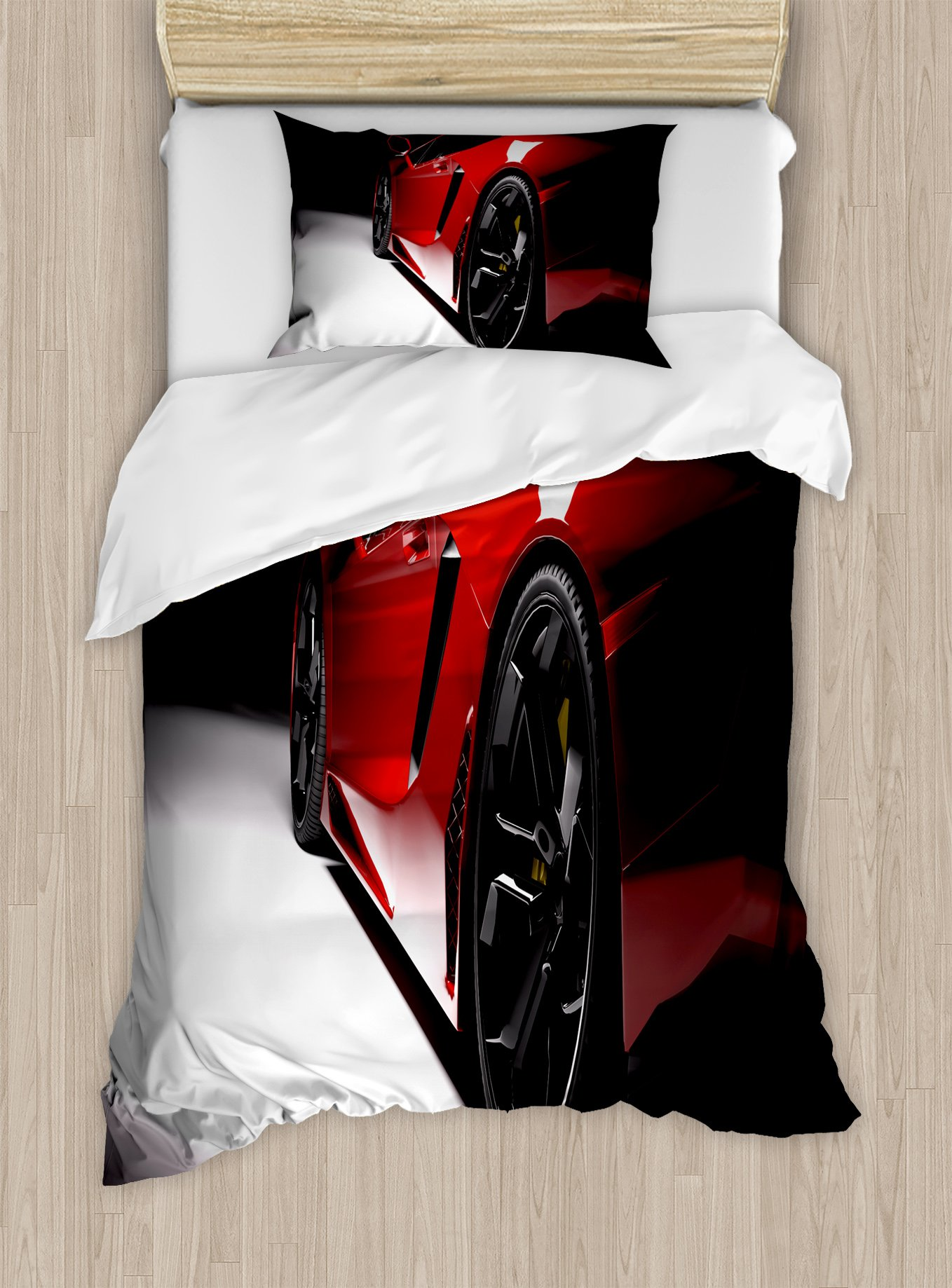 Lunarable Boy's Room Duvet Cover Set Twin Size, Modern Speed Sport Car Fancy Vivid Toned Exquisite Stylized Automobile Image, Decorative 2 Piece Bedding Set with 1 Pillow Sham, Red Black