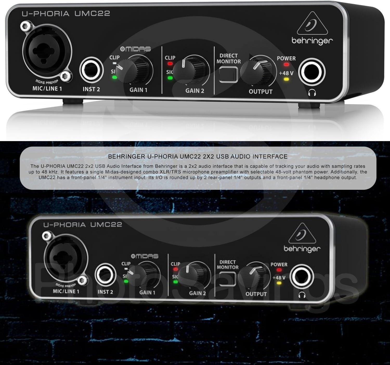 Xpix 1//4 and XLR Cable Photo Savings Behringer U-PHORIA UMC22 2in2out USB Audio Interface and Accessory Bundle w//Headphones Fibertique Cloth