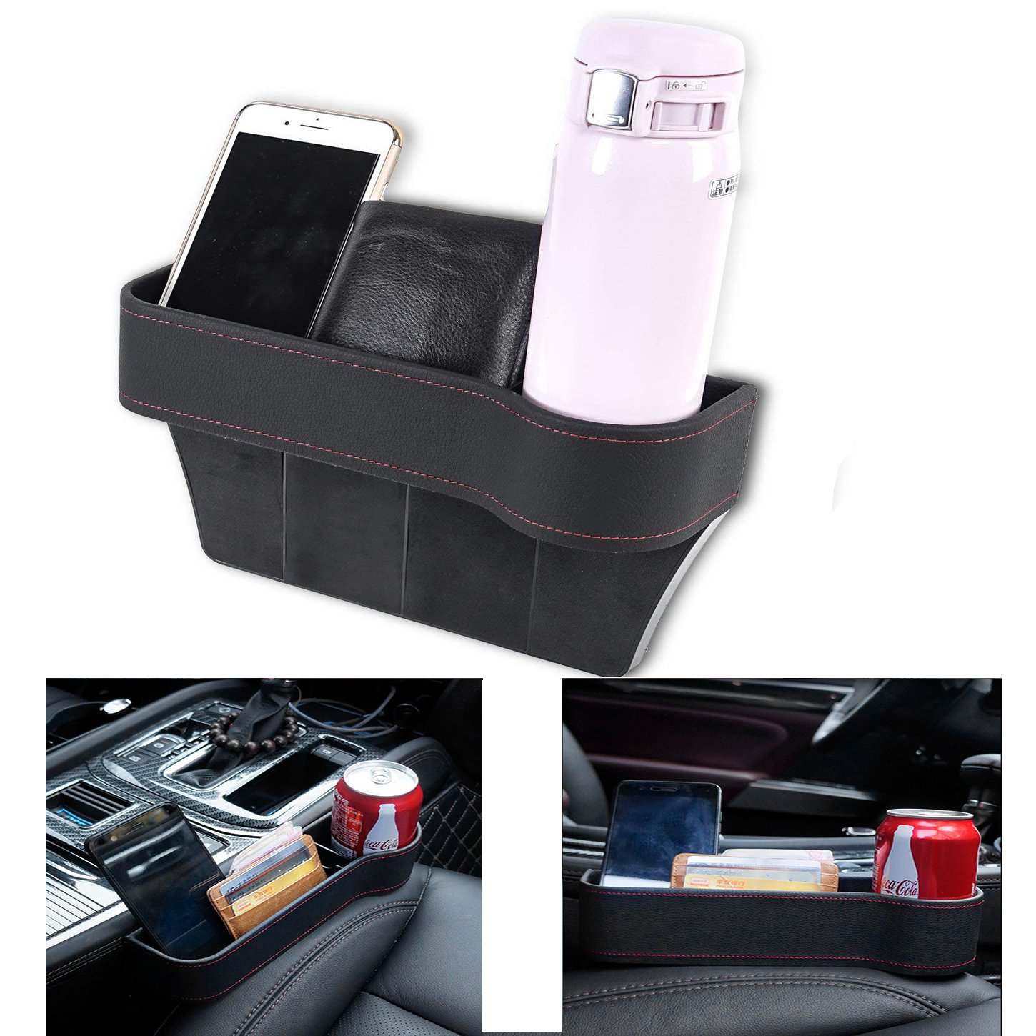 VVHOOY Car Seat Pockets, PU Leather Multi-function Car Interior Accessories Seat Crevice Storage Box Drink Cups Cups Phone Sunglasses Coins Keys(Passenger Side)