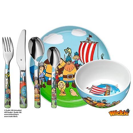 WMF Vicky el Vikingo - Vajilla para niños 6 piezas, incluye plato, cuenco y