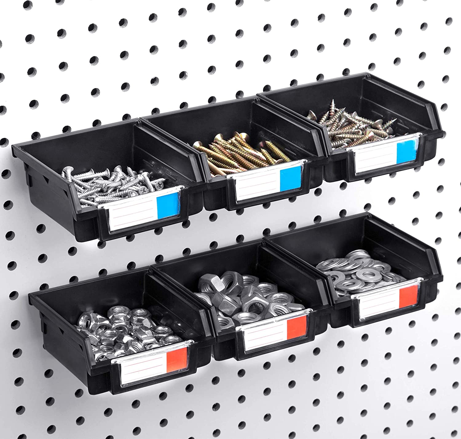 Craft and Parts Hardware Peg Board Accessory Organizer Storage Attachment Black Magicfly 12 Pack Pegboard Bins 3 Sizes Pegboard Storage Hooks Fits Any Tools Extra 6 Hooks