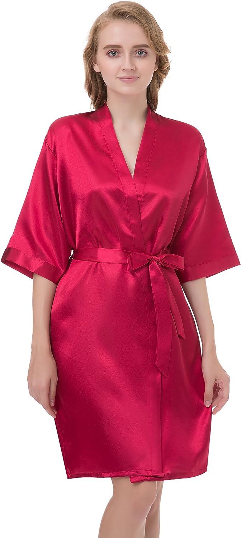 gusuqing Women's Pure Color Short Kimono Robe Sleeve Bridesmaid Robe