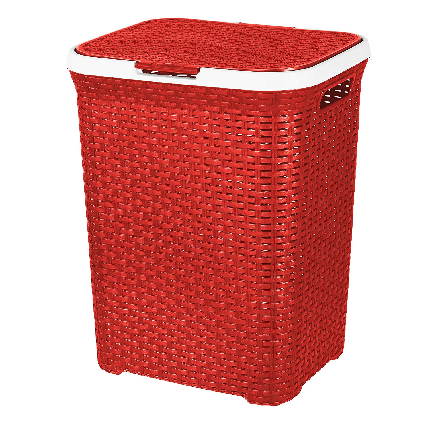 Evelyn Living 65 Litre Plastic Laundry Basket Hamper Storage Rattan Look with Lid & Insert Handles (Lilac)