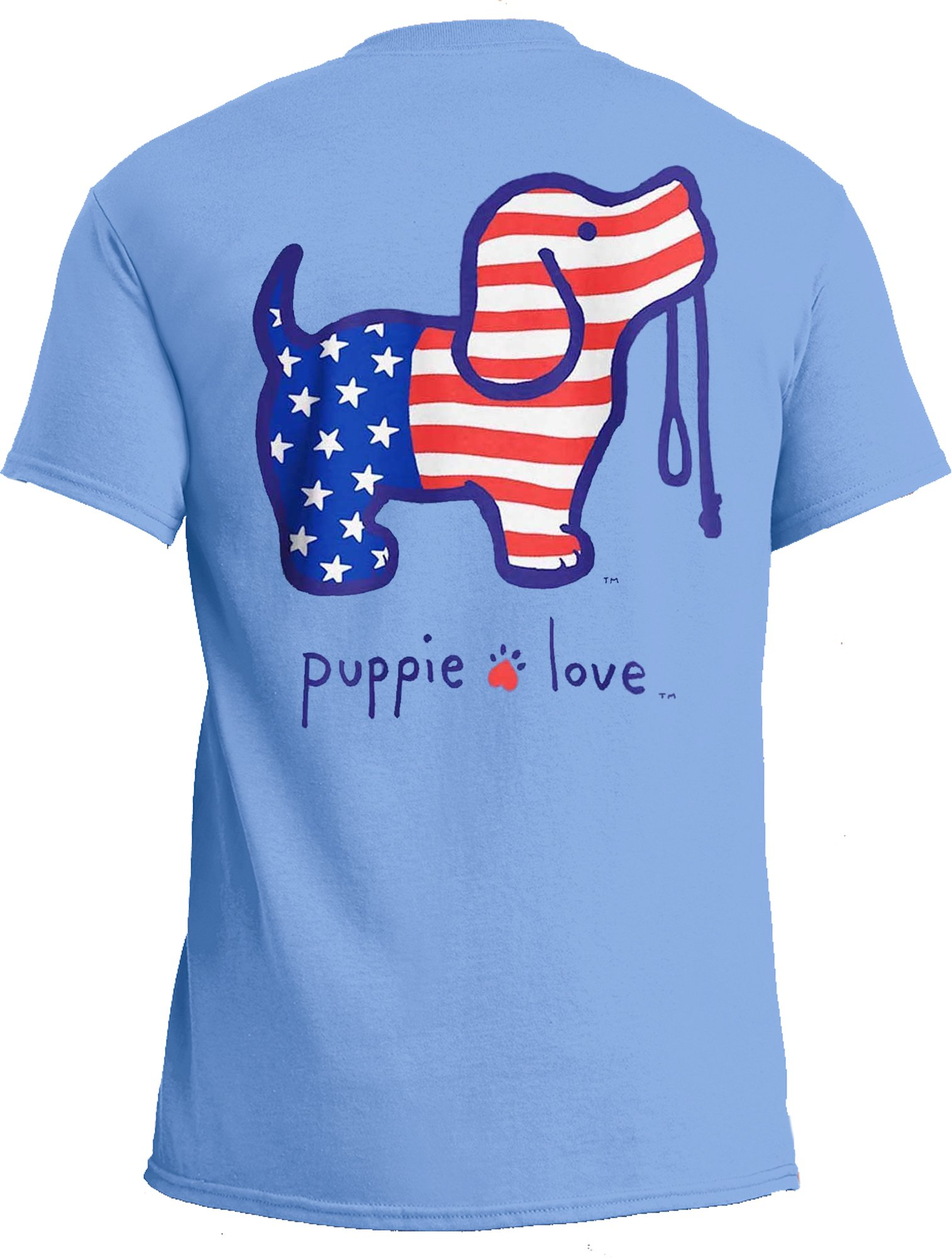 Puppie Love Rescue Dog Adult Unisex Short Sleeve Cotton T-Shirt, USA Pup (Medium, Carolina Blue)