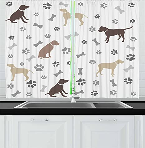 Amazon Com Ambesonne Dog Lover Kitchen Curtains Paw Print Bones And Dog Silhouettes American Foxhound Breed Playful Pattern Window Drapes 2 Panel Set For Kitchen Cafe Decor 55 X 39 Umber Beige Home