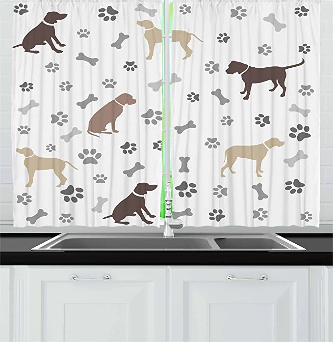 Ambesonne Dog Lover Kitchen Curtains Paw Print Bones And Dog Silhouettes American Foxhound Breed Playful Pattern Window Drapes 2 Panel Set For Kitchen Cafe Decor 55 X 39 Umber Beige Home Kitchen