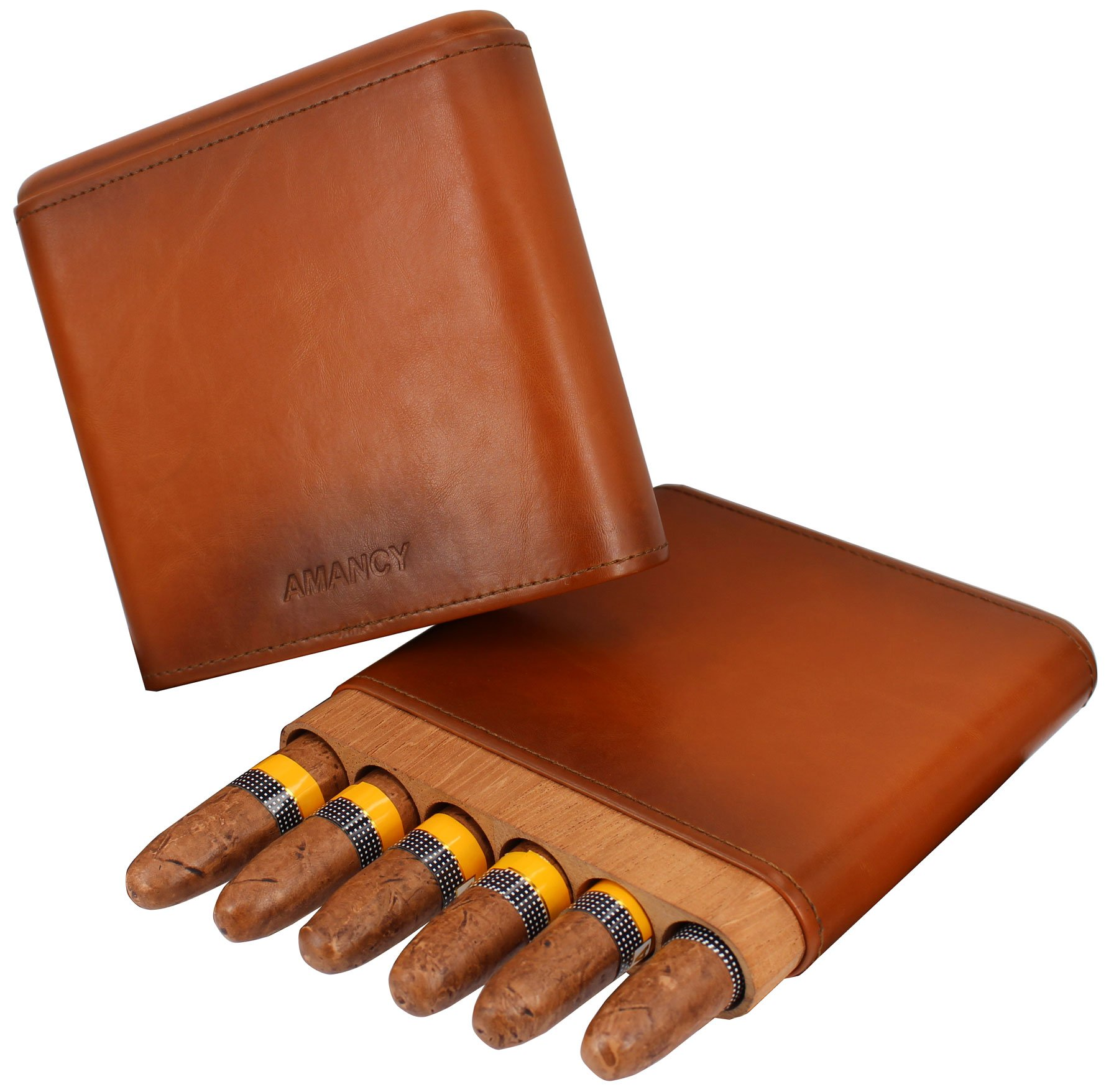 AMANCY Beautiful 6- Fingers Handy Brown Leather Cigar Case, Travel Cigar Humidor with Cedar Wood Lined