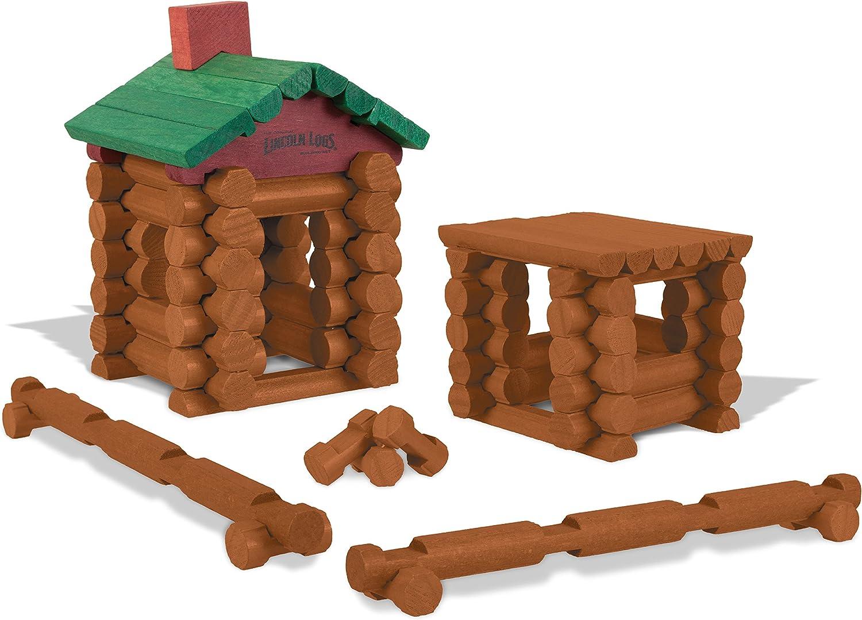 "Wooden LINCOLN LOGS Parts Lot 10 Medium 2-Notch Log Pieces 4.5/"" Dark Brown"