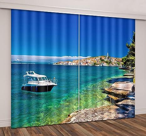 European Garden by Lake 3D Blockout Mural Window Curtains Drapes 2 Panels Set