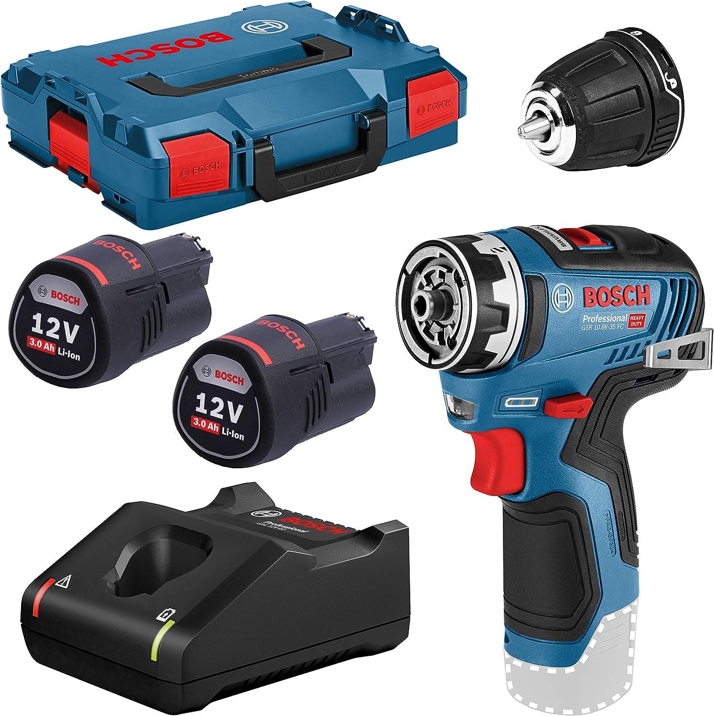 Bosch Professional GSR 12V-35 FC - Atornillador a batería (2 baterías x 3.0 Ah, 12V, 35 Nm, 1 cabezal FlexiClick, en L-BOXX)