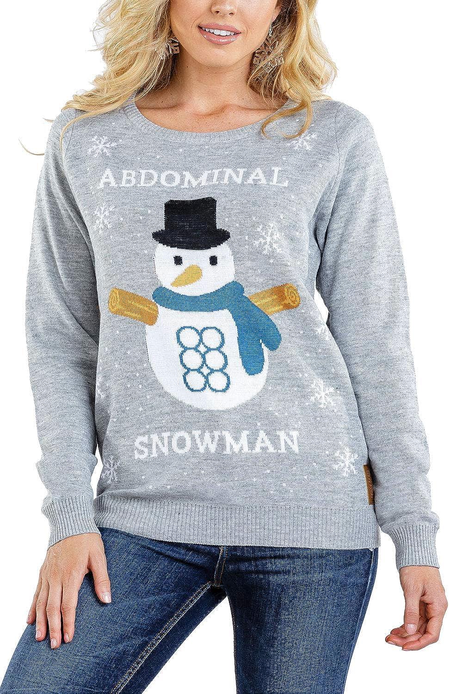 Women's Abdominal Snowman Ugly Christmas Sweater - Funny Snowman Christmas Sweater